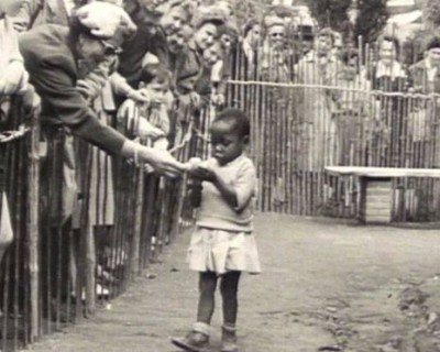 African-girl-in-human-zoo-Brussels, Belgium in 1958