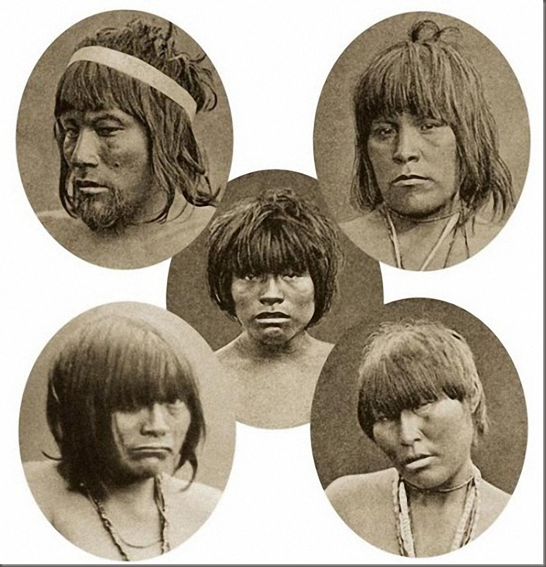 Five Indians from the Kawesqar tribe (Tierra del Fuego, Chili) were kidnapped in 1881 and transported to Europe to be demonstrated in a human being zoo. All of them died a year later.
