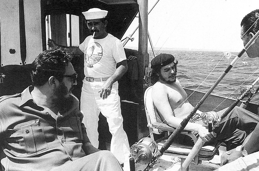 Che Goevara and Fidel Castro fishing 1960